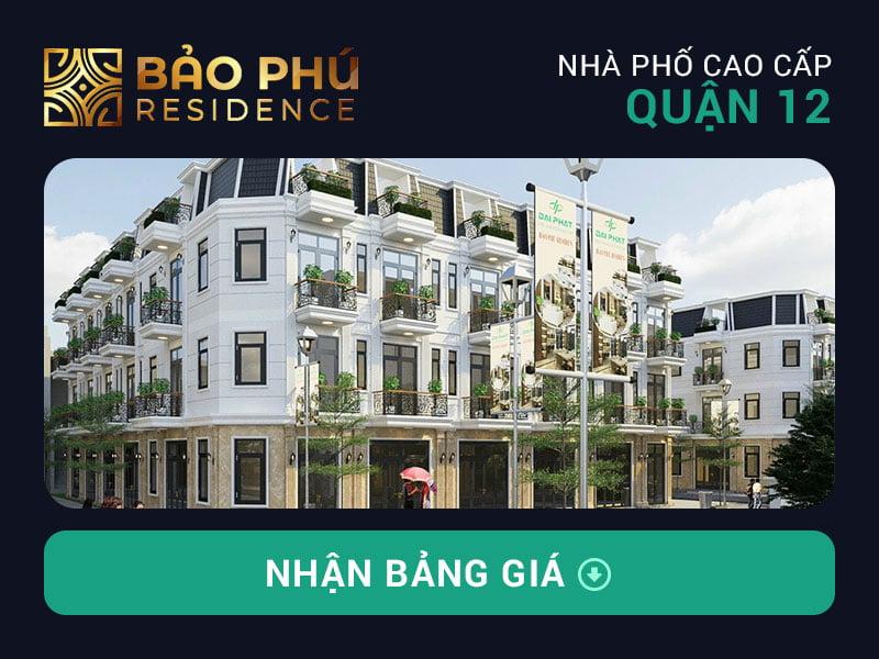 Bảng giá dự án nhà phố Bảo Phú Residence